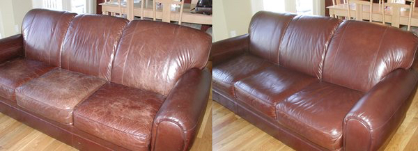 Brown Leather Couch - Before After